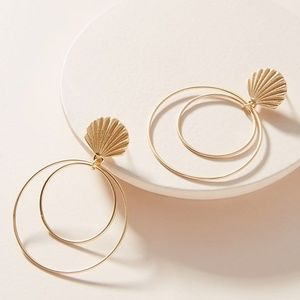 Anthropologie Seashell Hooped Post Earrings